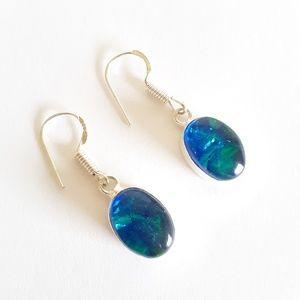 Blue sterling silver triplet opal dangle earrings